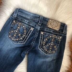 Miss Me Peace Distressed Signature Bootcut Jeans